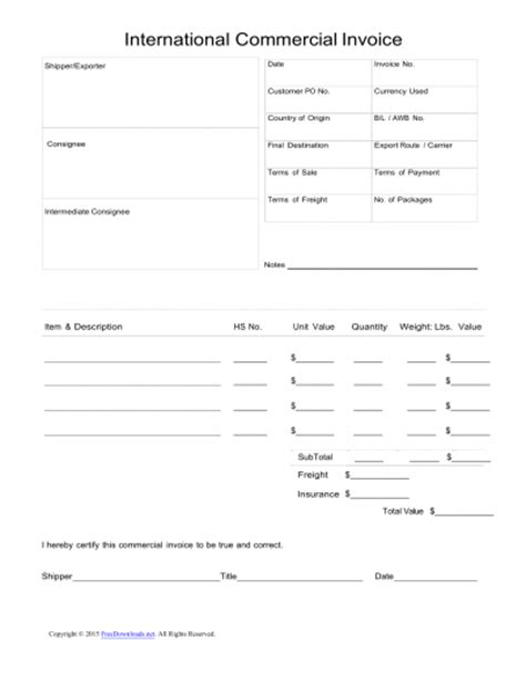 Download Standard Blank Commercial Invoice Template Excel Pdf Rtf Word Freedownloads Net International Commercial Invoice Template