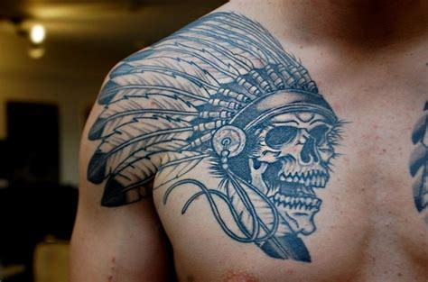 tattoo chest indian native skull chest tattoo tattoo ideas pinterest