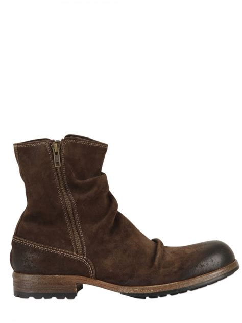 shoto waxed suede zipped low boots in brown for lyst