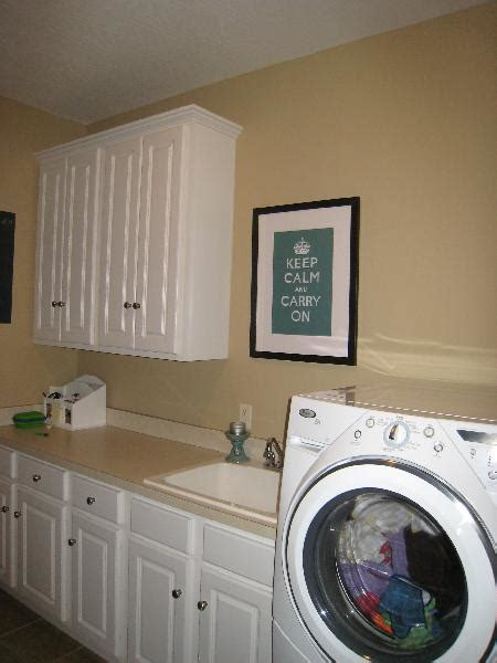 White Cabinets Laundry Room Laundry Room With White Cabinets And Keep Calm Print