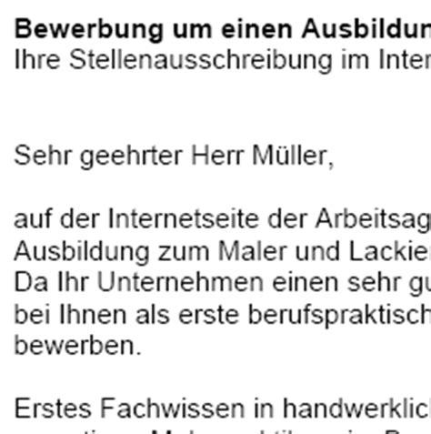Anschreiben Bewerbung Ausbildung Maler Lackierer Bewerbung Maler In Und Lackierer In Azubi Sofort