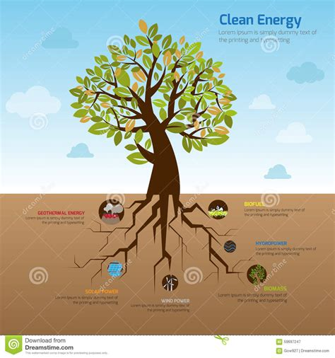 illustration tree   wide spread root representing clean  stock vector image