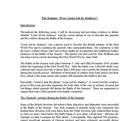 Lions Led By Donkeys Essay by The Army Were Lions Led By Donkeys Researchmethods Web Fc2