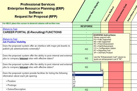 erp software evaluation selection professional services