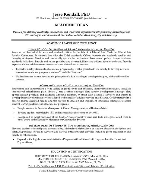 academic resume template word free academic dean resume exle