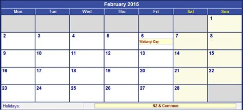 printable year planner 2015 nz february 2015 new zealand calendar with holidays for