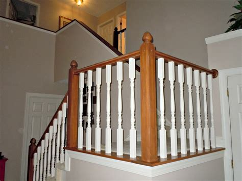 builder grade oak stair railing makeover using gel stain