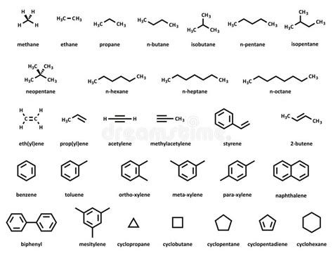 hydrocarbon molecules set stock vector illustration