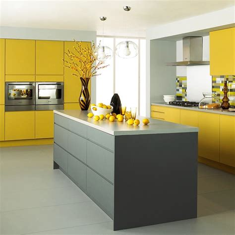 Gray And Yellow Kitchen Ideas | matt grey and yellow kitchen from jewson mixed finish