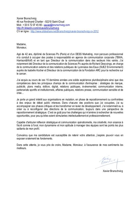 Exemple Lettre De Motivation école Communication Lettre De Motivation Xavier Brunschvicg Directeur De La Communicati