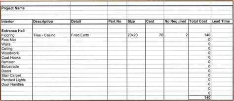 5 home renovation spreadsheet excel spreadsheets