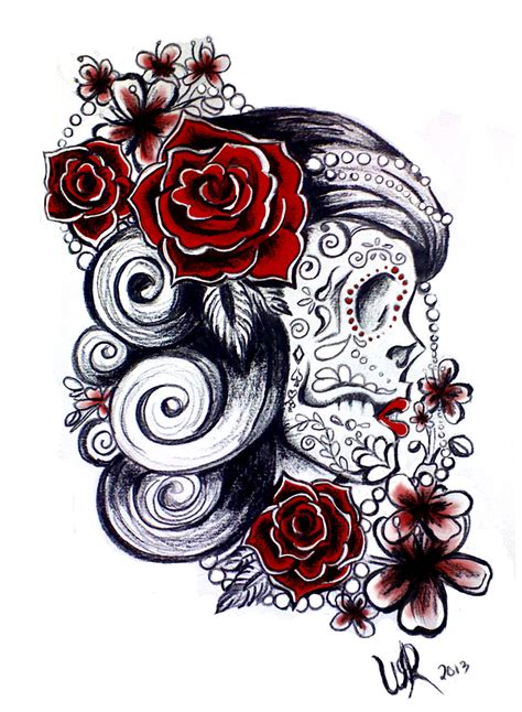 candy skull tattoo design sugar skull design by ayeri on deviantart
