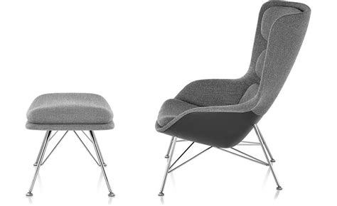 Striad High Back Lounge Chair Ottoman With Wire Base High Back Chair With Ottoman