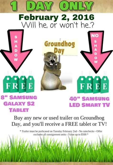groundhog day on tv get a free tv or tablet on groundhog day leisure