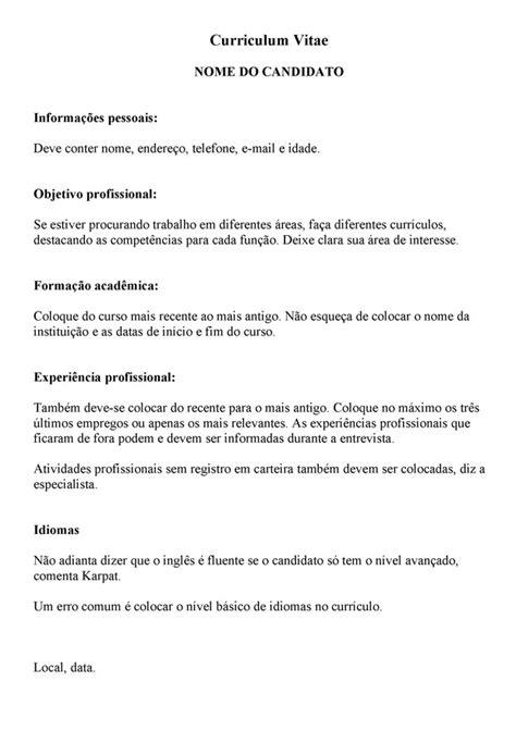 Modelo Curriculo Internacional G1 Emprego Na Crise Saiba O Que Incluir No Curr 237 Culo E Veja 6 Erros Para Evitar Not 237 Cias Em