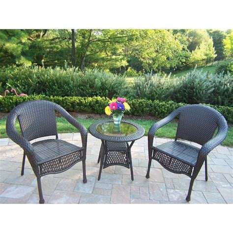 bistro set patio oakland living elite 3 wicker patio bistro set 90048