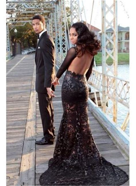 Elegant Black Lace Prom Dresses Backless Tulle Sheer Long