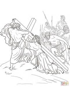 stations of the cross coloring pages fifth station jesus is helped to carry his cross