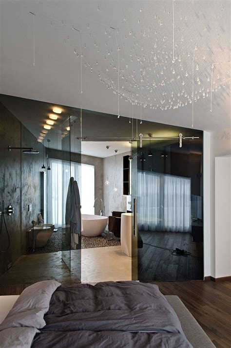 bedroom with glass walls dark glass wall bathroom bedroom concrete interior