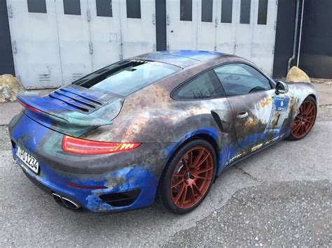 porsche wrapped porsche 911 turbo gets rusty wrap salutes barn find time