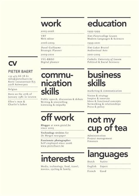 layout of a resume dissecting the and bad resume in a creative field
