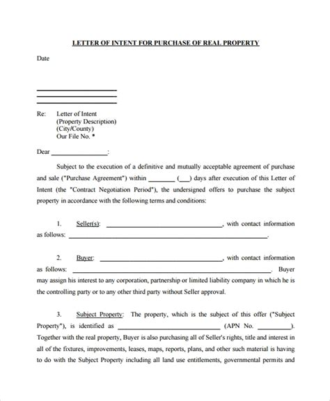 letters intent purchase property
