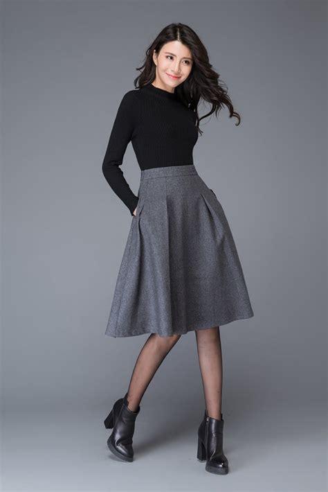 Rok Fashionable Cindia Navy Mini Skirt gray skirt wool skirt grey skirt midi skirt grey wool
