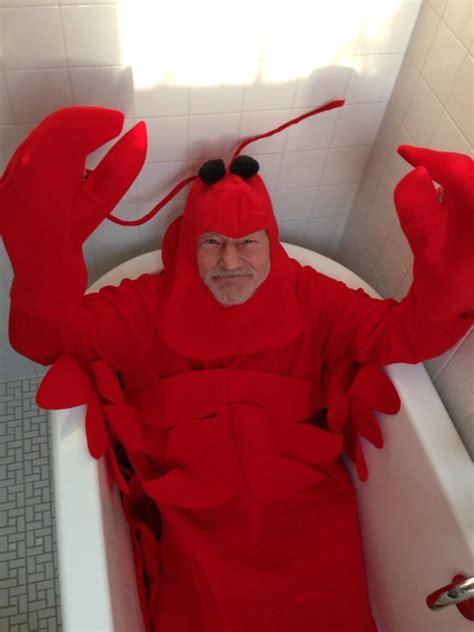 bathtub halloween costume sir patrick stewart celebrates halloween as a lobster in a