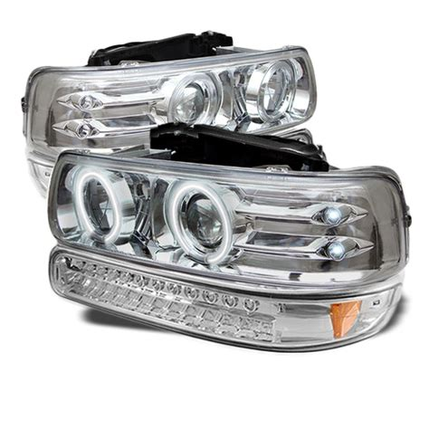 99 02 chevy silverado suburban tahoe halo projector headlights led bu