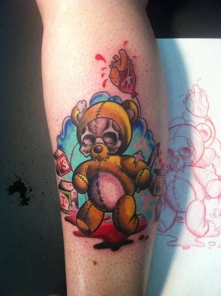 new school tattoo mn killer teddy bear by jeremy calverley tattoonow