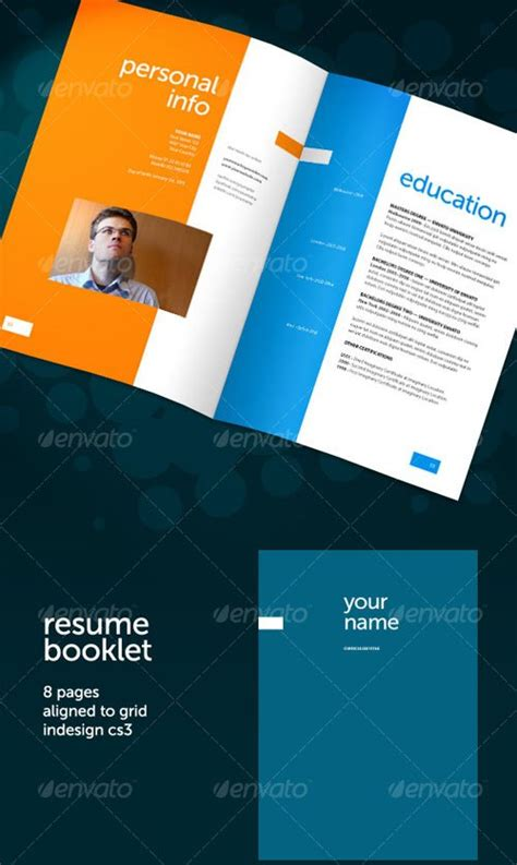 resume booklet template brochure templates graphicriver resume booklet 8 pages