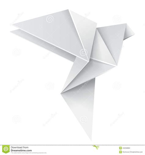Origami Paper White - origami dove stock vector image of folded creative