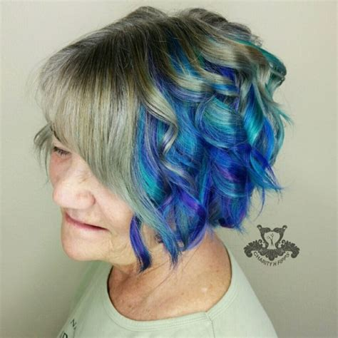 bobs witj feather side bands peacock feather underlights inverted bob with side bang