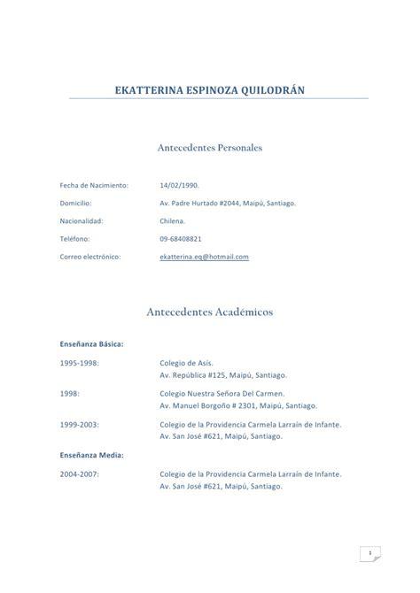 Plantilla De Curriculum Vitae Chile Curriculum Vitae Pdf