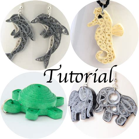 pattern for paper jewelry tutorial for paper quilled animal jewelry pdf dolphin elephant