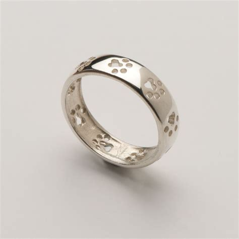 solid silver cut out paw print wedding band ring