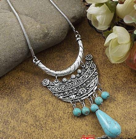 Kalung Batu Turqoise nr186 turquoise perak bulan batu air mata liontin