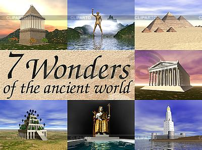 7 Wonders Board Ready New seven wonders of the ancient world high resolution stock