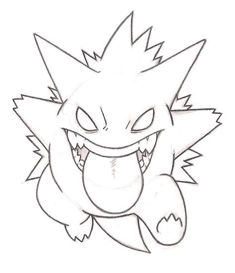 pokemon coloring pages gengar gengar line art wip by harlansaysmoose on deviantart