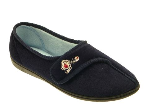 wide womens slippers womens luxury comfort slippers wide fit velcro