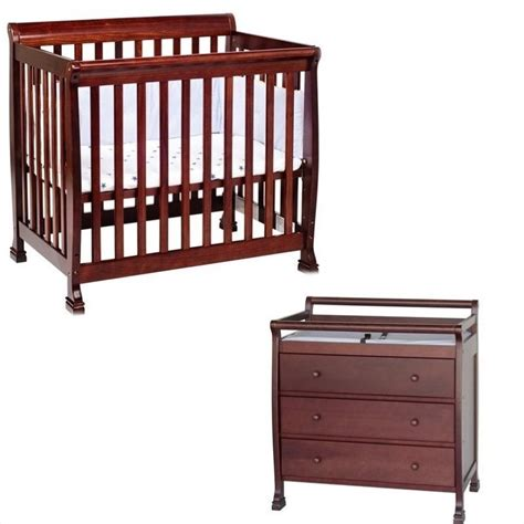 Mini Crib With Attached Changing Table Davinci Kalani Convertible Mini Wood Crib Set With Changing Table In Cherry M5598c M5555c Pkg
