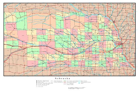 map of all cities large detailed administrative map of nebraska state with