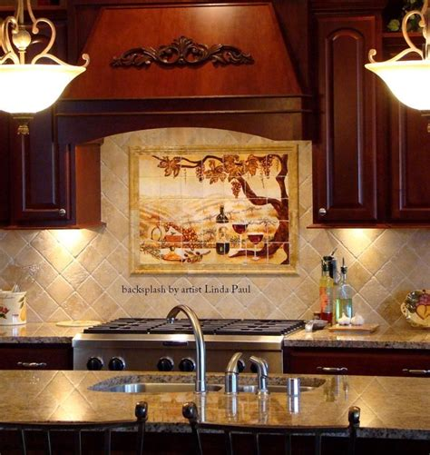 kitchen backsplash murals hand made the vineyard kitchen backsplash tile mural by