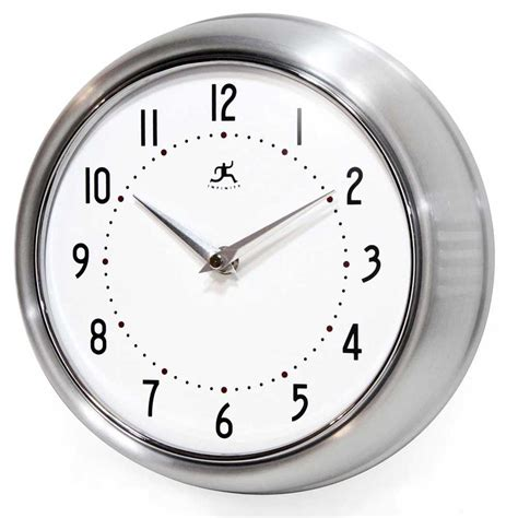 wall clock the retro silver wall clock by infinity instruments