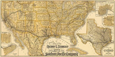 america map vintage us map map of usa railway steamship lines southern