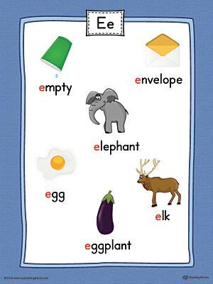 color beginning with e letter e word list with illustrations printable