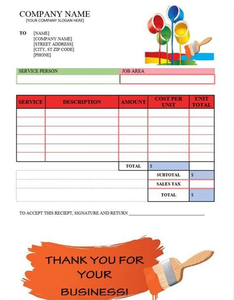 Painting Invoices Painter Invoice Template Pinterest Invoice Template Templates And Sle Painting Invoice Template