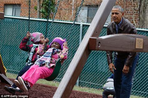 me swing washington dc obamas visit shelter where white house playset was donated