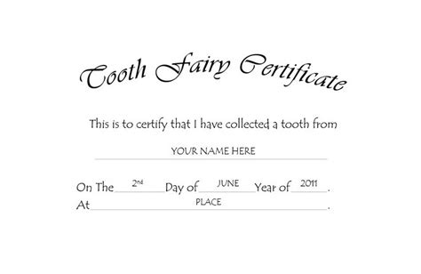 tooth fairy certificate templates clip art wording