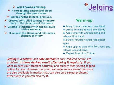 jelqing is a and safe method to cure reduced